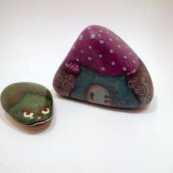 Original Art Mushroom Fairy Frog Storybook Fantasy Rocks